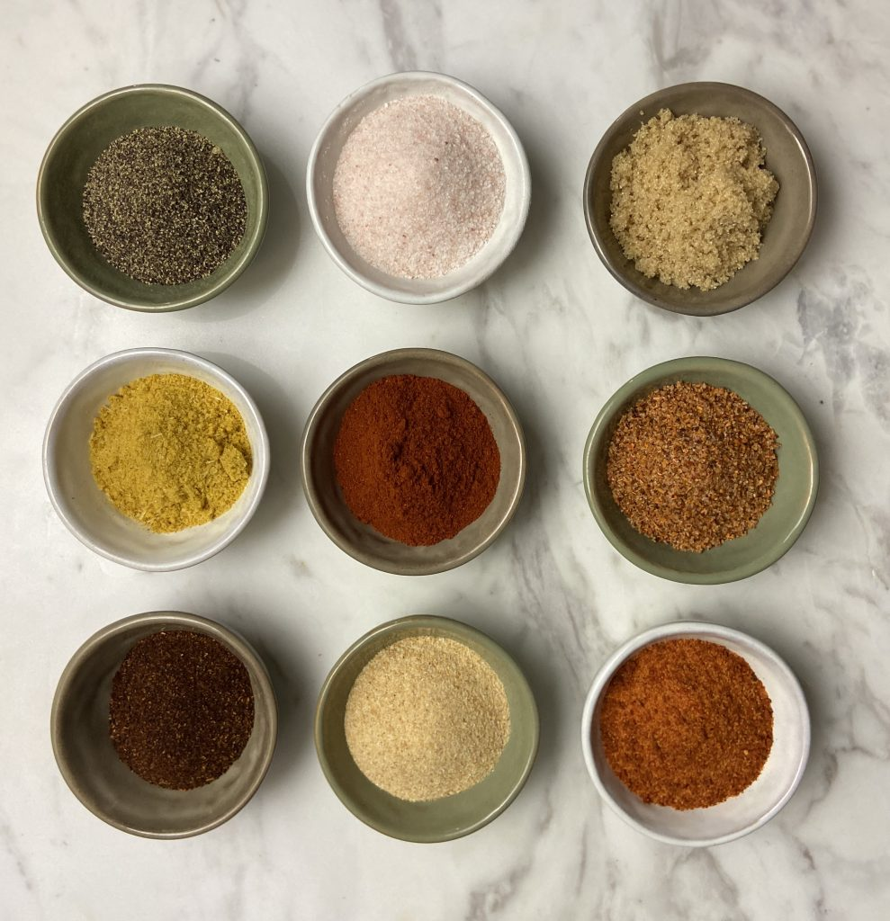 3 rows of 3 spices