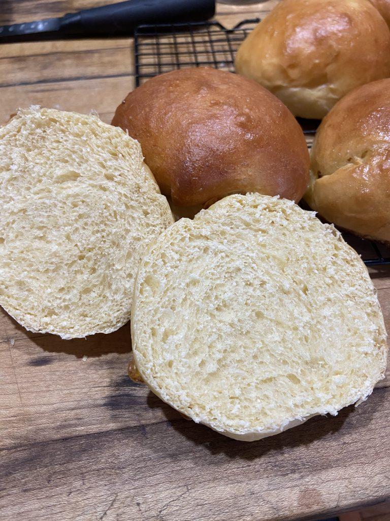 A cross section of fresh hamburger buns