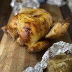 Freshly roasted chicken in a juicy pepperoncini brine
