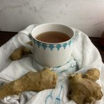 a mug of fresh ginger syrup